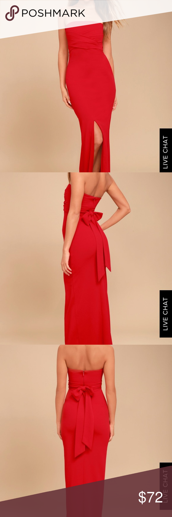 OWN THE NIGHT RED STRAPLESS MAXI DRESS OWN THE NIGHT RED STRAPLESS MAXI  DRESS Size Small b11612256