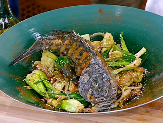 Chinese style whole fried black bass over wok sauteed bok choy chinese style whole fried black bass over wok sauteed bok choy ginger and spring garlic recipes cooking channel forumfinder Gallery