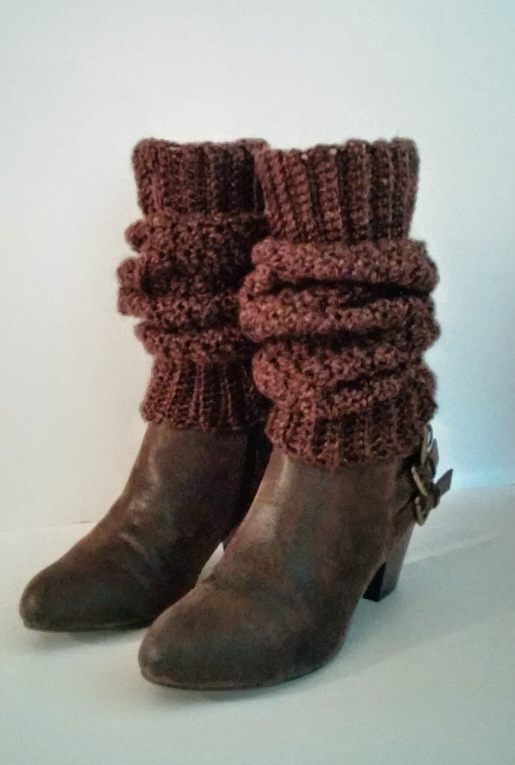 Crochet Brown Leg Warmers, Wide Cuff For Perfect Fit, Knit Brown Leg ...