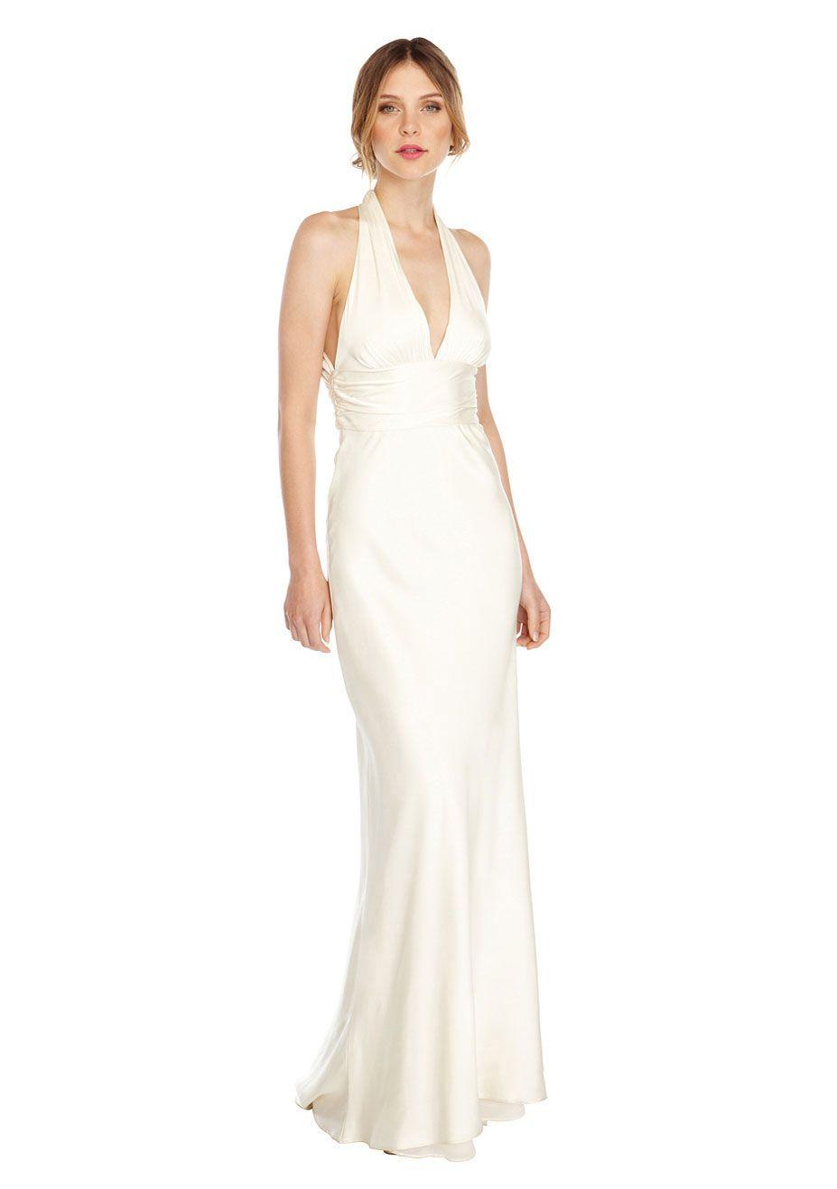 Double face satin bridal gown womenus designer clothes nicole