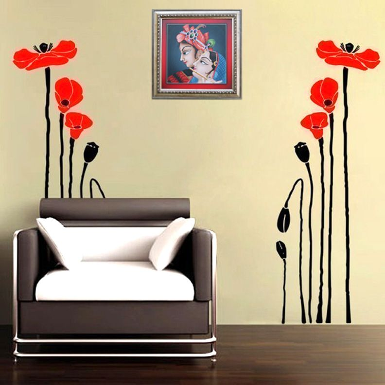 Bright Red Poppies Wall Decal Model KC051 Giving your decor set up a ...