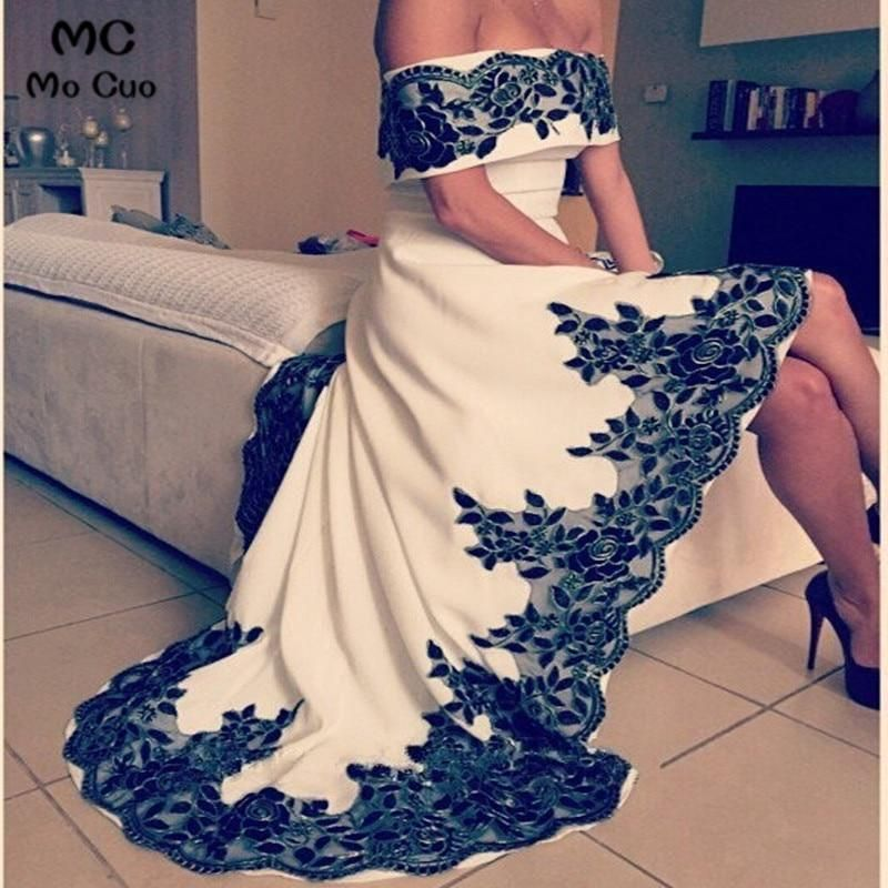 OffShoulder High Low Evening Dress With Black Appliques