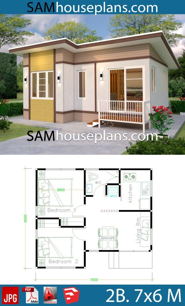 Small House Design 7x6 With 2 Bedrooms Sam House Plans Small House Design Small House Design Plans House Plans