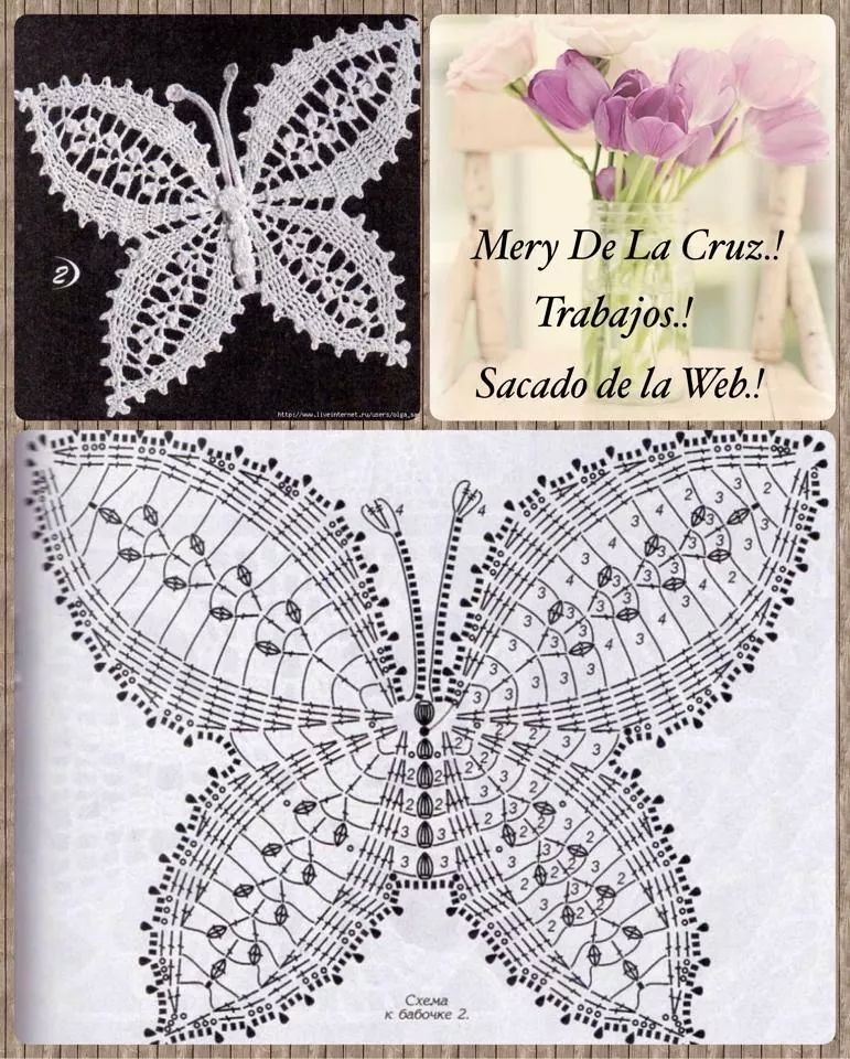 Mariposa crochet patron | Август | Pinterest | Crochet butterfly ...