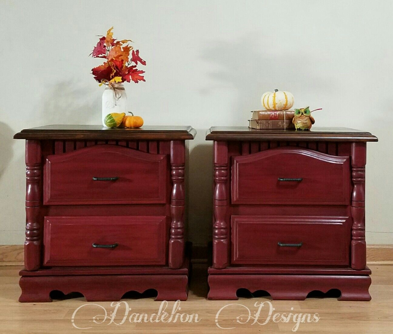 Smoky Pearl Furniture Painting Technique Captiva: Nightstands Painted In Rustoleum Chalked Paint In Crimson