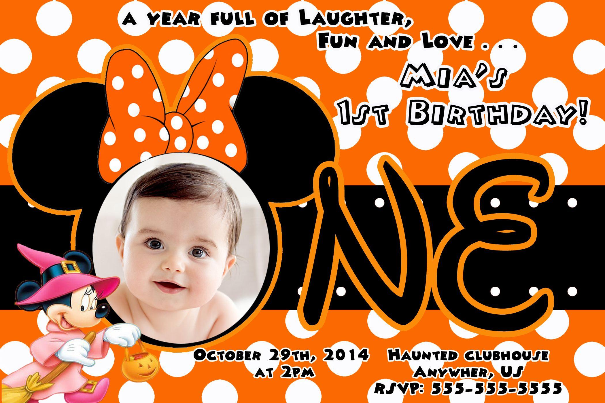 Minnie Mouse Birthday Halloween Invitations 899