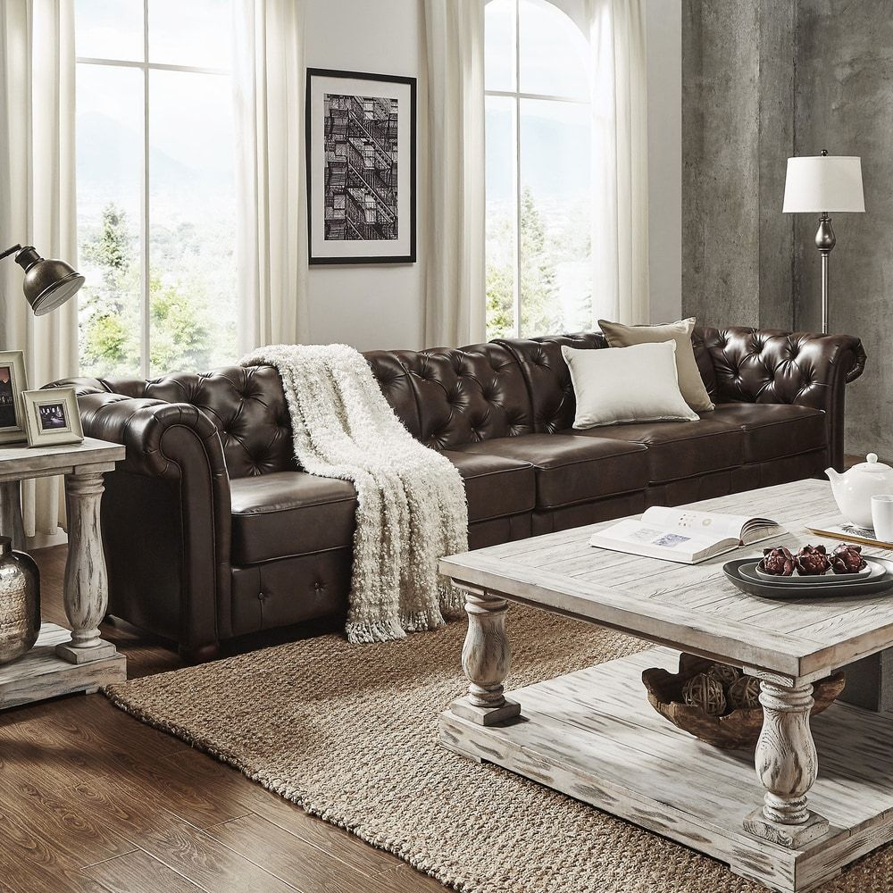 knightsbridge bonded leather oversize extra long tufted chesterfield sofa by inspire q artisan. Black Bedroom Furniture Sets. Home Design Ideas