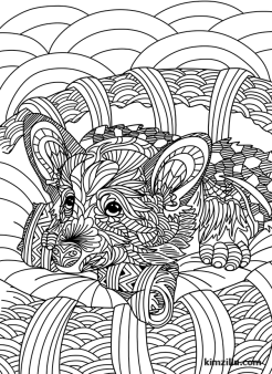 Cute Zentangle Dog Coloring Page