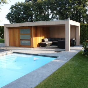 abri de jardin pool house maison bois sur mesure cote terrasse exterior pinterest. Black Bedroom Furniture Sets. Home Design Ideas
