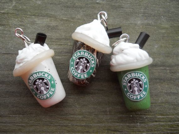 Polymer Clay Starbucks Pendants - how adorable is that?