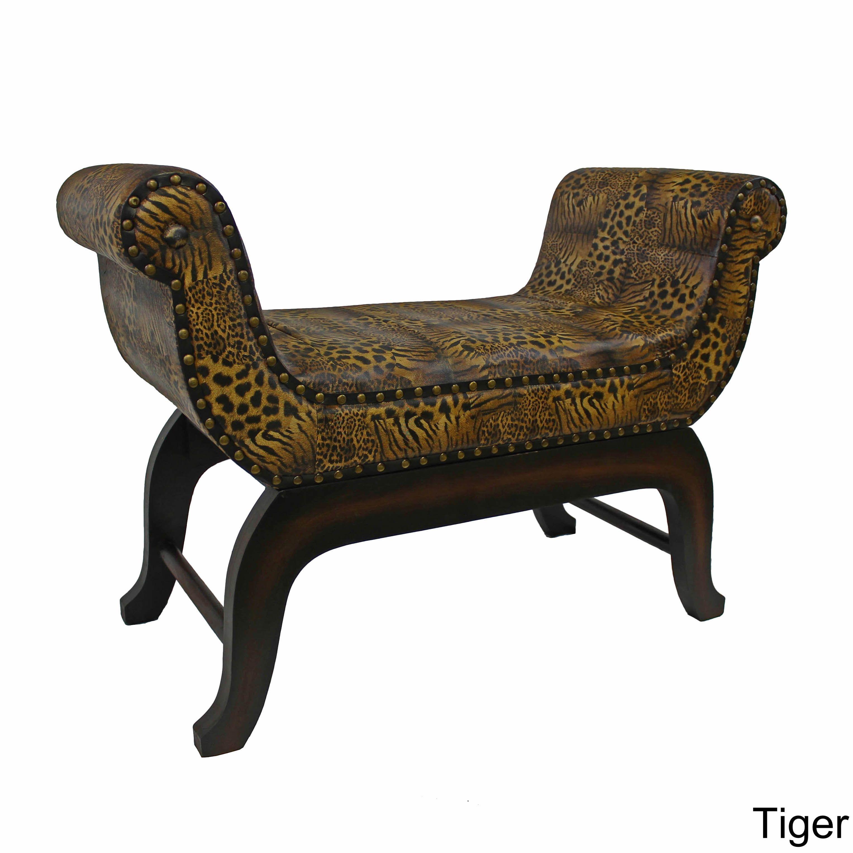 International Caravan Seville Faux Leather Vanity Stool (Tiger Faux  Leather), Brown