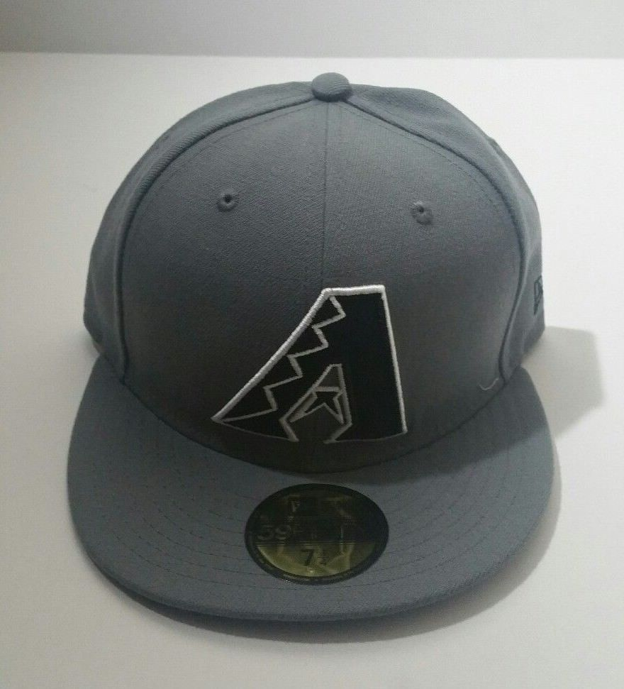31ef4d01c7008 New Era Arizona Diamondbacks 59Fifty Gray Black Logo MLB Fitted Hat Size 7  1