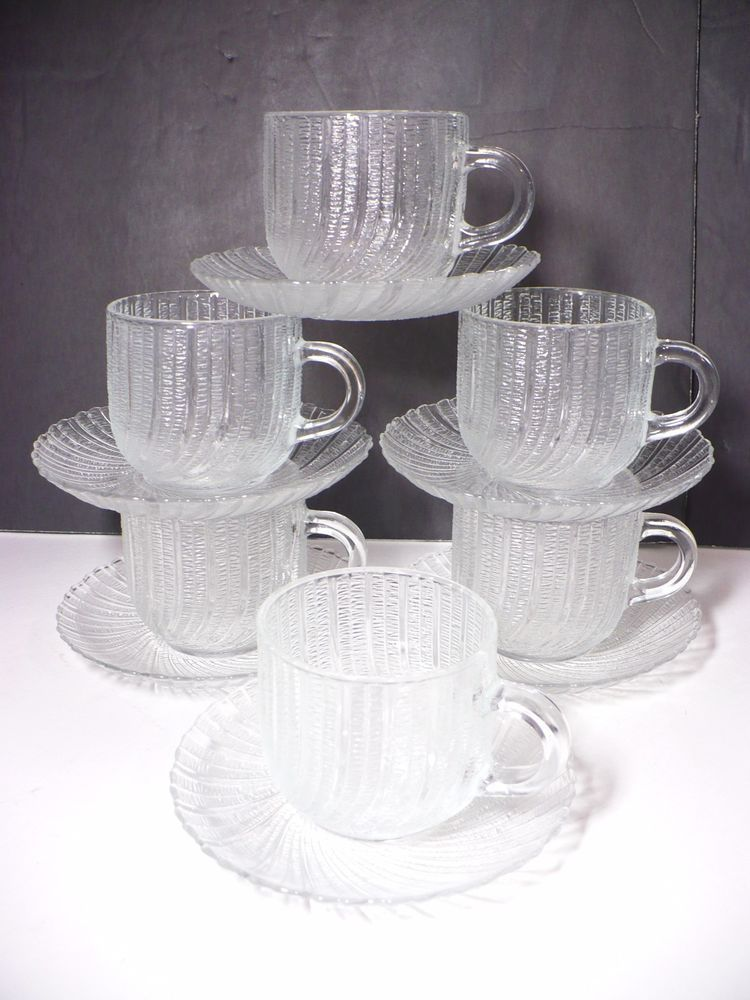 Arcoroc France Seabreeze Cup & Saucer SET OF 6 Clear Swirl Glass ...