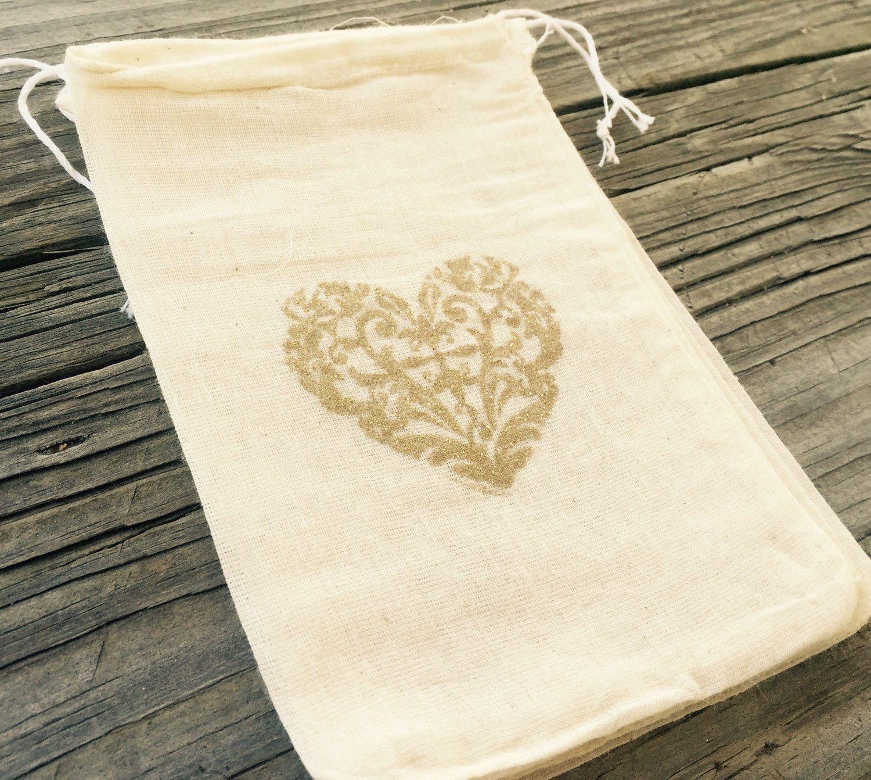 10 gold glitter heart wedding favor bags, gold wedding favors, bling ...
