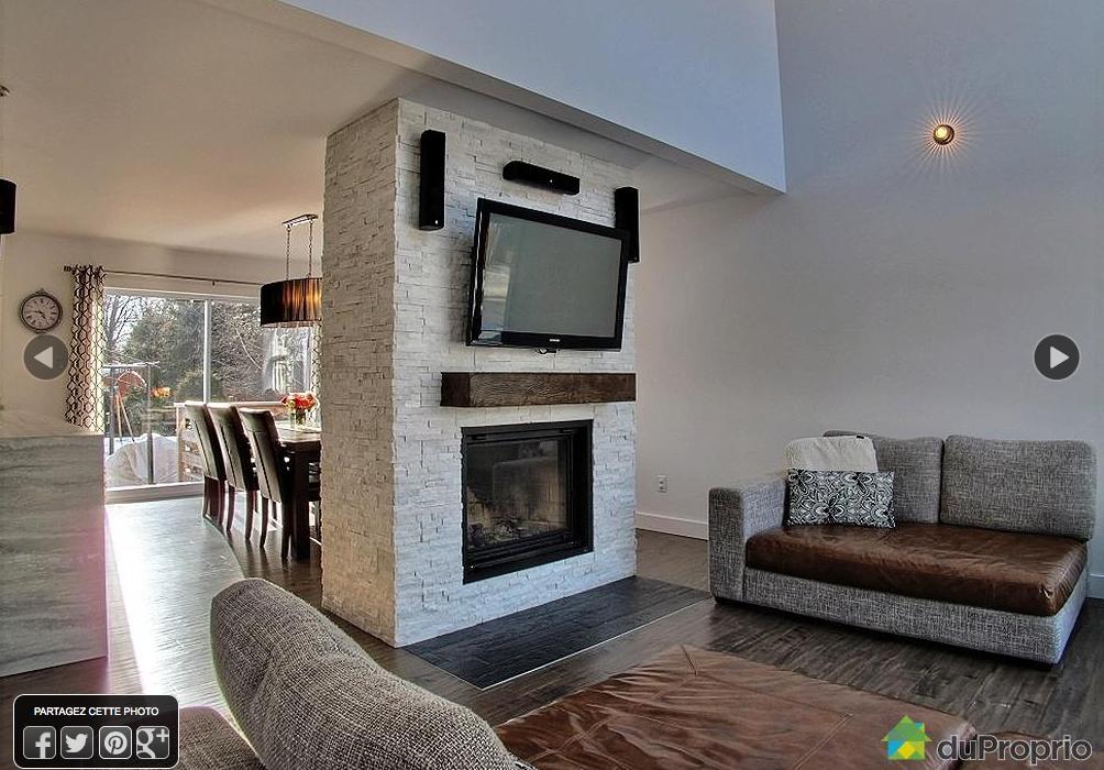 Salle famille id e de mur avec foyer exemple foyer et tv - Decoration foyer salon ...