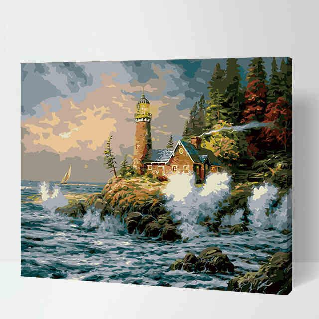 Beach Hut Paint By Number Kit Lighthouse Art Lighthouse Painting