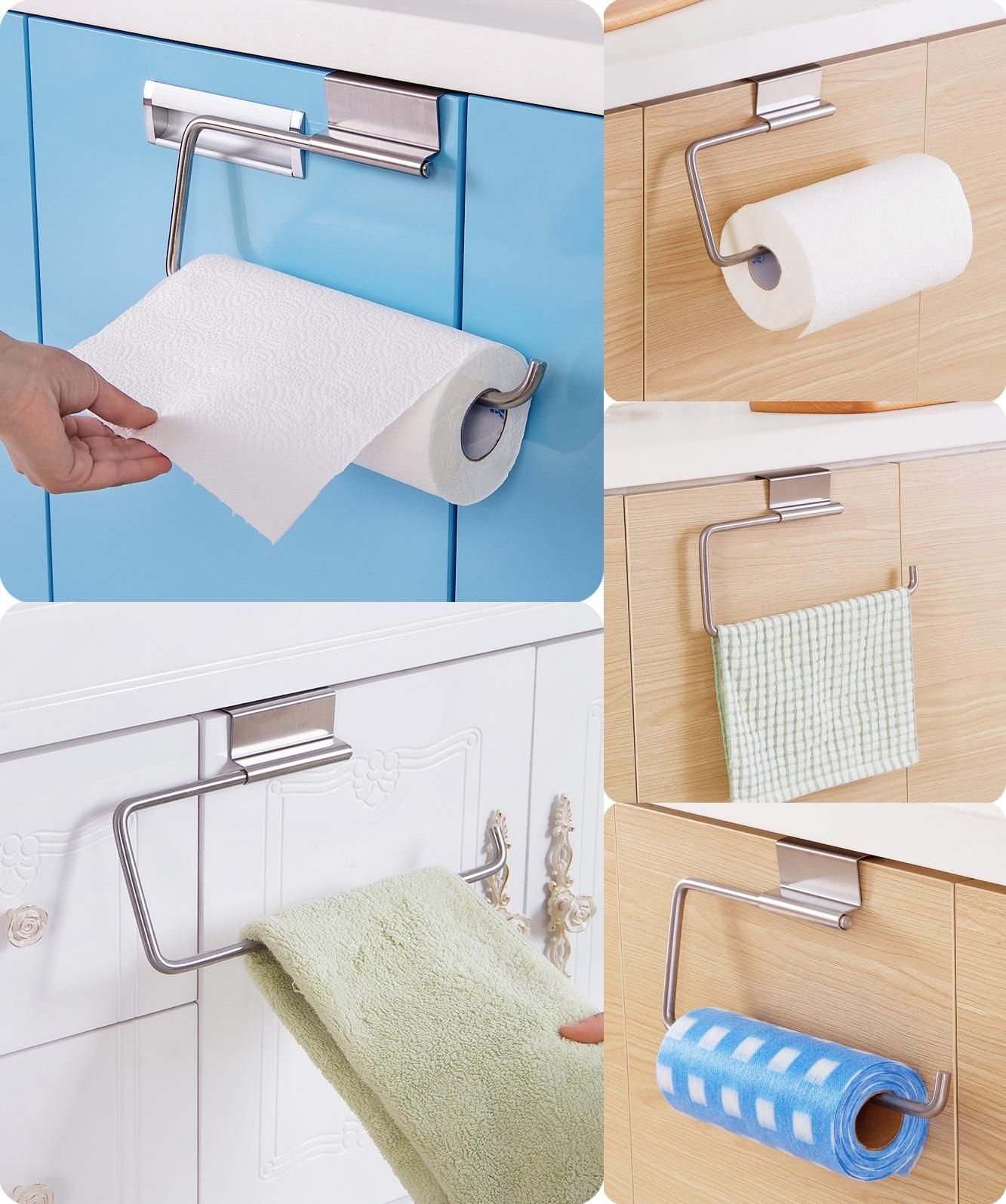 [Visit To Buy] Stainless Steel Toilet Roll Paper Towel Holder With Shelf  Kitchen Tissue