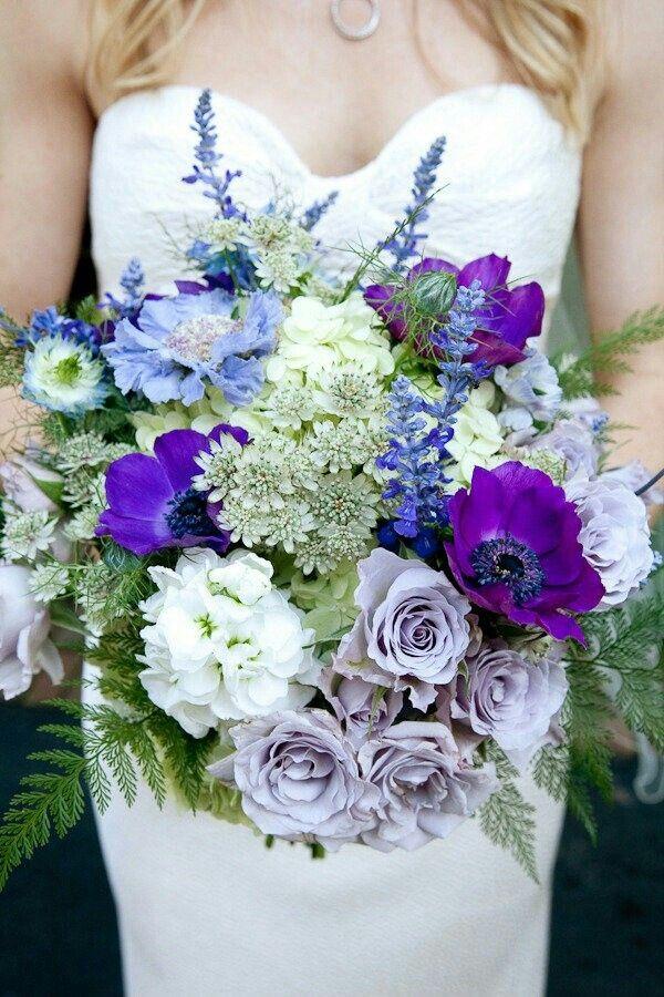 Glorious Bouquet Lavender Roses Purple Anemone Light Blue Scabiosa White Astrantia White Glad Purple Bridal Bouquet Purple Wedding Bouquets Purple Wedding