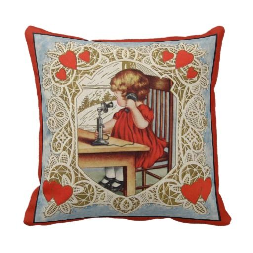 Little Girl with Telephone Throw Pillows