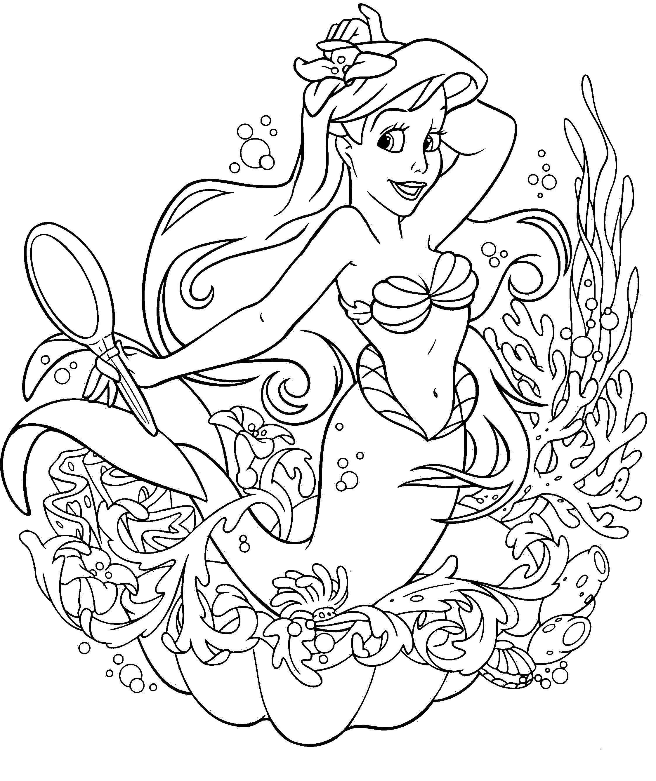 Princess Ariel Hold Glass Coloring Pages Ariel Coloring Pages Mermaid Coloring Book Free Disney Coloring Pages