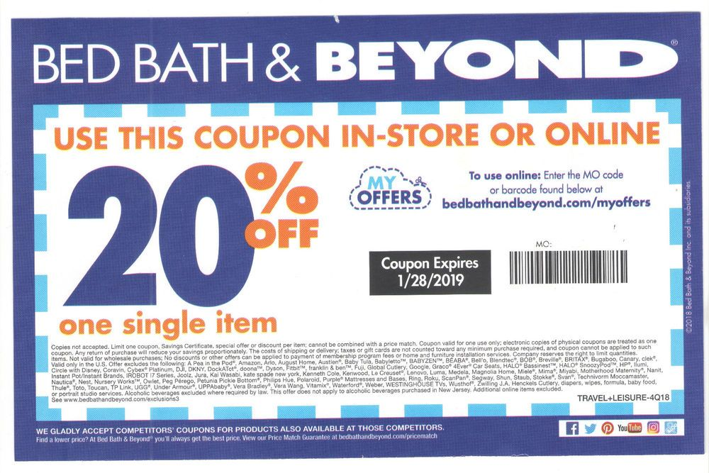 Bed Bath and Beyond 20 off 1 single item Coupon instore
