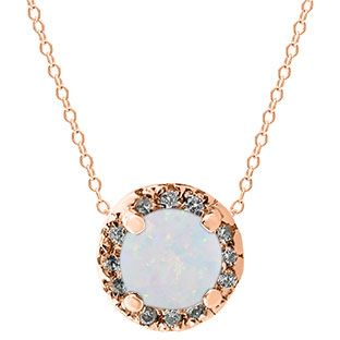Opal Gemstone Diamond Halo Pendant In Rose Gold Gemologicacom