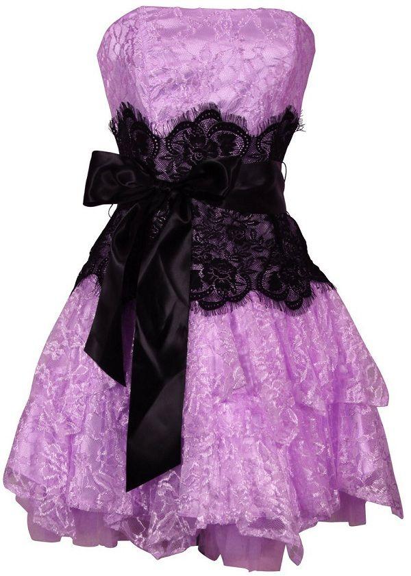 Purple Dress With Black Lace