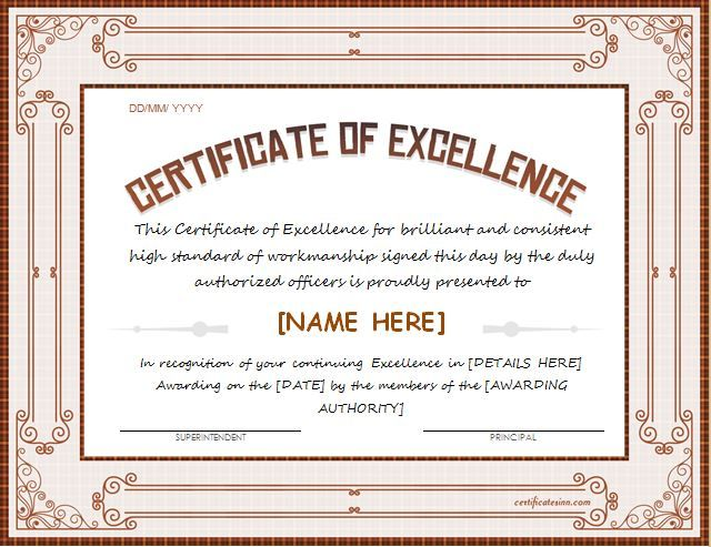 Certificate of Excellence Template for Word DOWNLOAD at http - certificate templates word