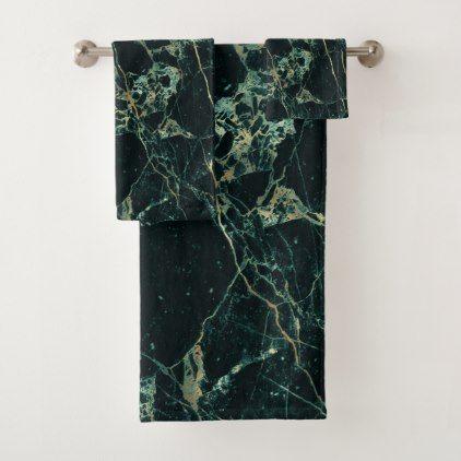 Pixdezines Forest Green Marble Faux Gold Veins Bath Towel Set