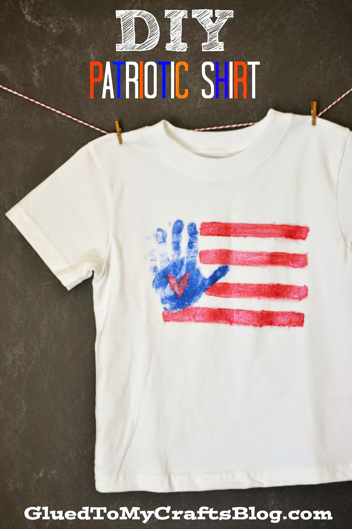 Diy Handprint Flag Patriotic Shirt
