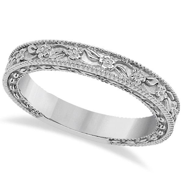 Carved floral designed wedding band anniversary ring in 14k white carved floral designed wedding band anniversary ring in 14k white gold publicscrutiny Images