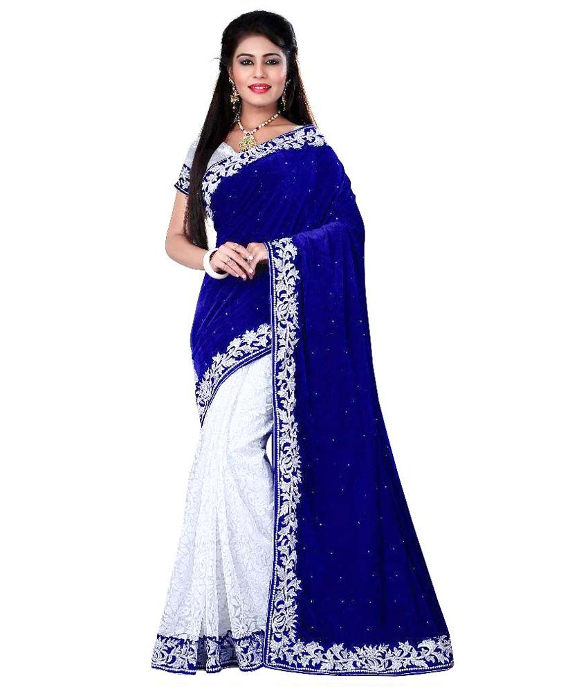Velvet saree images radhey arts navy velvet saree  weddingcollections
