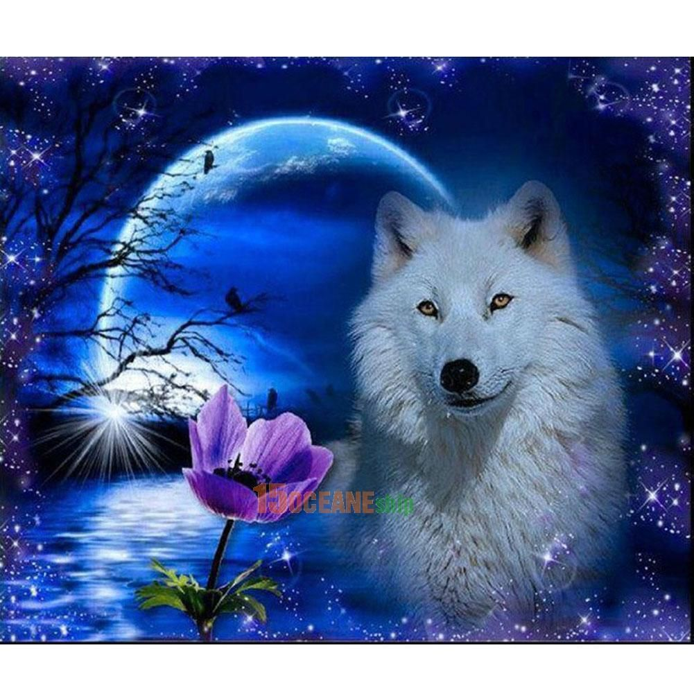 Waterfall Wolf 5D Diamond Painting DIY Embroidery Cross Stitch Home Decor Craft