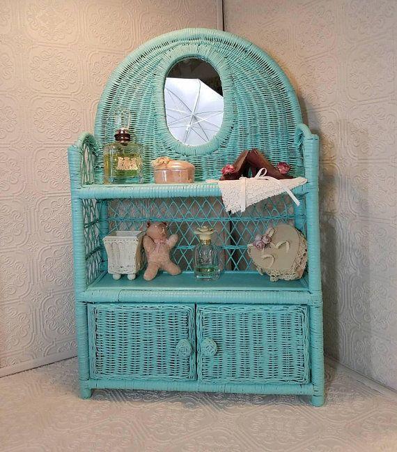 Turquoise wicker shelf upcycled wicker curio wicker - White wicker bathroom accessories ...