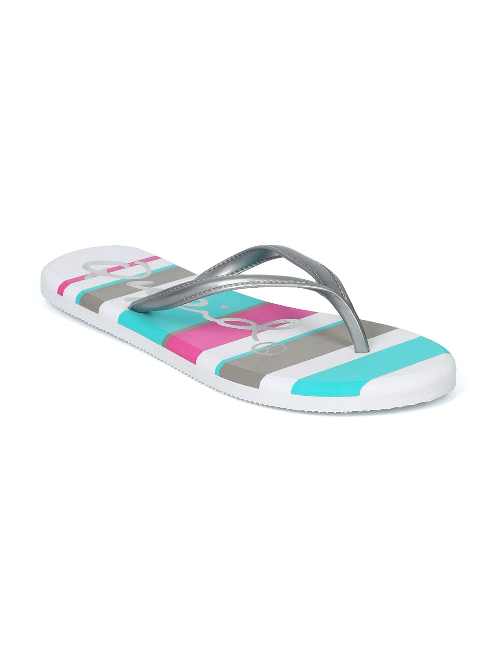 34b6b1e112a6 Shoes Women Metallic PVC Striped Beach Flip Flop