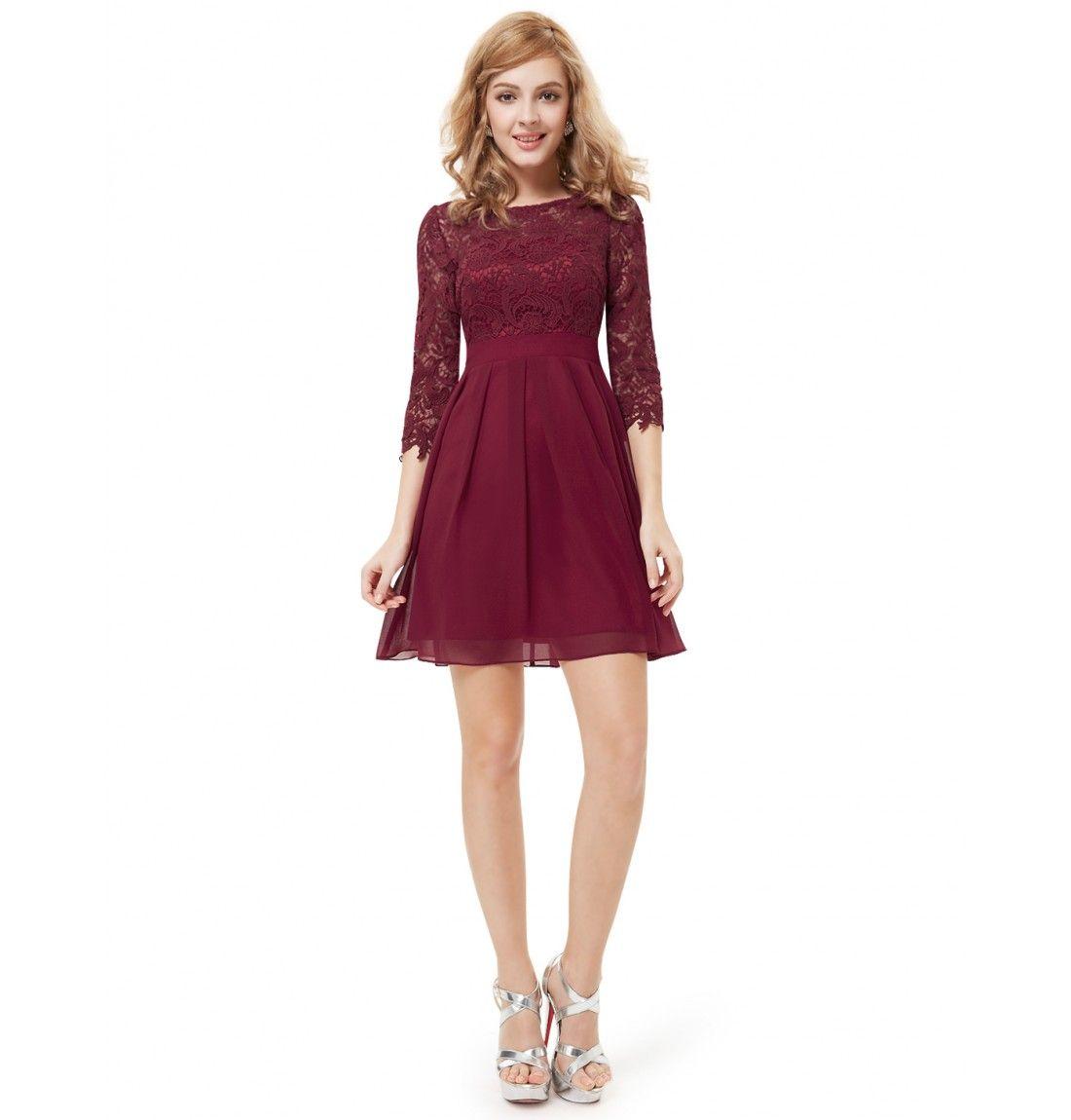 Damen 3/4 Arm Cocktailkleid Dunkel Rot | Klamotten | Pinterest ...