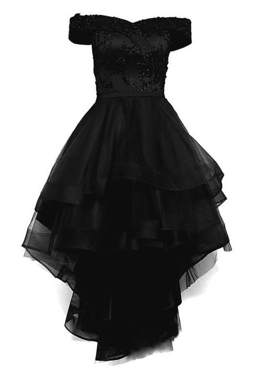 acff66b50ee Black Off Shoulder Tulle and Lace High Low Homecoming Dress 2019 ...