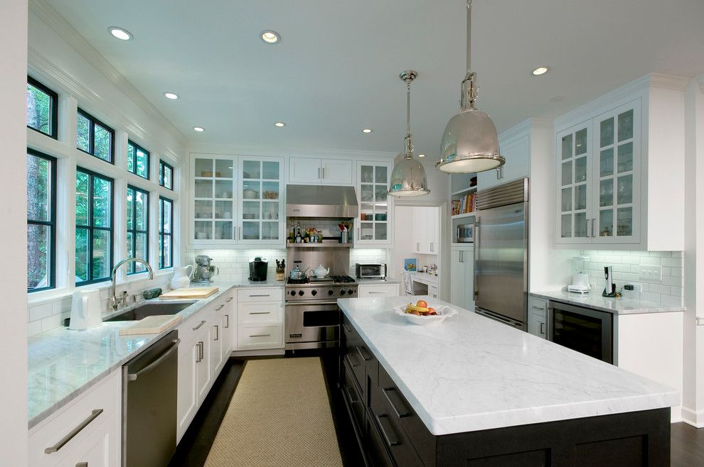 Dark window trim kitchen contemporary with glass front cabinets ...