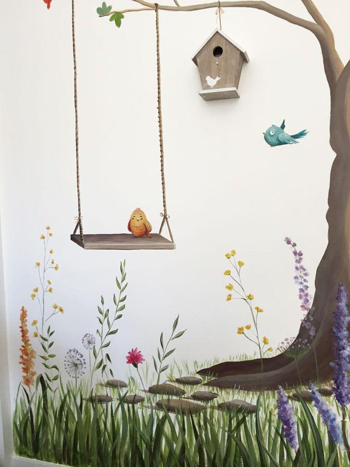 Detalle de habitaci n infantil rbol pajaritos de colores - Colores de habitacion ...