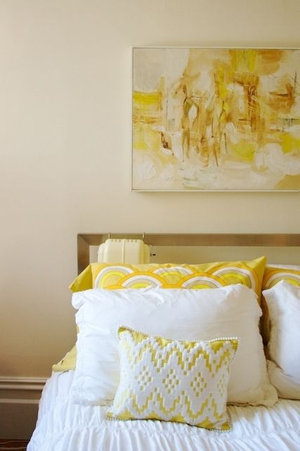 yellow & white decor