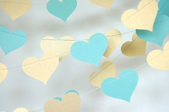 Gold And Teal Blue Heart Paper Garland Turquoise Bridal Shower Baby Party Decorations Birthday Decor