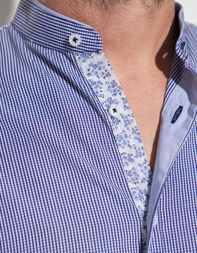 Gingham Shirt With Mao Collar Man New This Week Zara