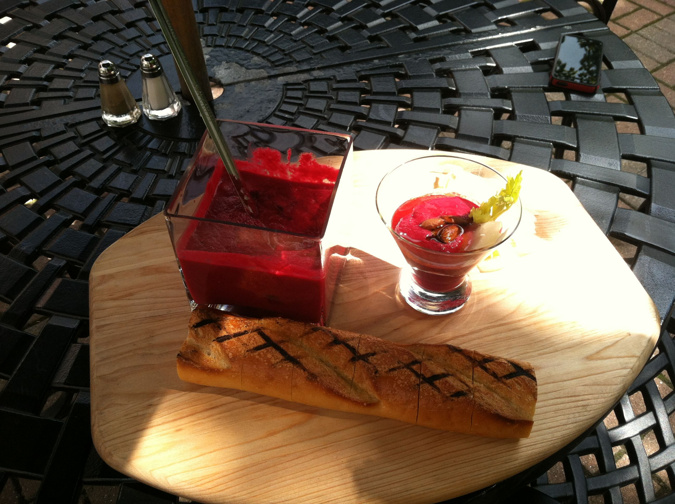 Grilled Beet Soup Amp Baguette In The Garden At Eve S Dine