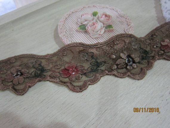 1 Yard- Vintage Embroidered Lace Trim/NBDL35-Sequin Embroidery Lace Trim/Scallop Flowering Lace/
