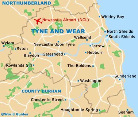 Map of Tyne and Wear featuring the towns of Jarrow and Hebburn