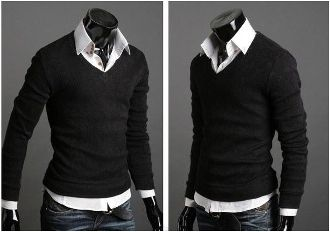 Clearance sale! Men's Knit Sweater in Purple or Black. NOW $14.95 only! (reg 33.95)