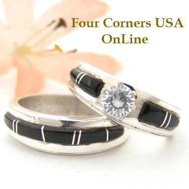 Size 7 1/2 Black Jet Engagement Bridal Wedding Ring Set Navajo Wilbert Muskett Jr WS-1440 Closeout Final Sale - Four Corners USA Online