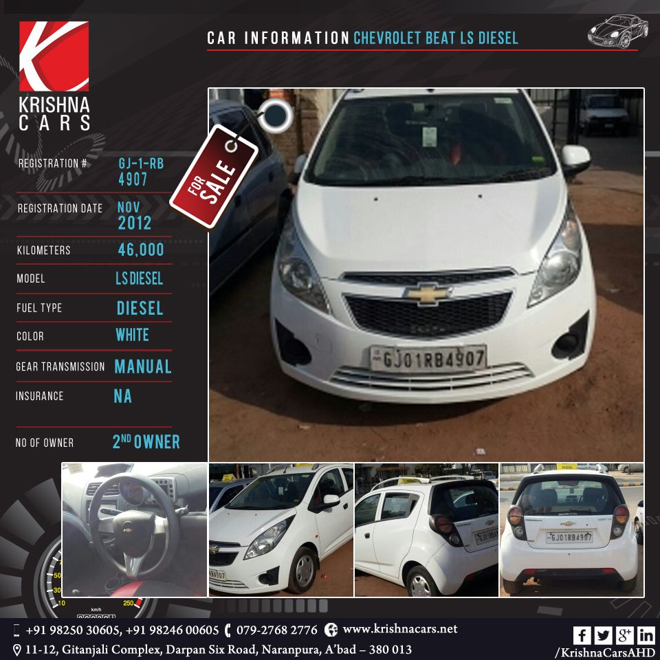 Usedcar For Sale Car Information Chevrolet Beat Ls Diesel Registration Gj 01 Rb 4907 Registration Date Nov 2012 Kilome Chevrolet Car Dealer Diesel Fuel