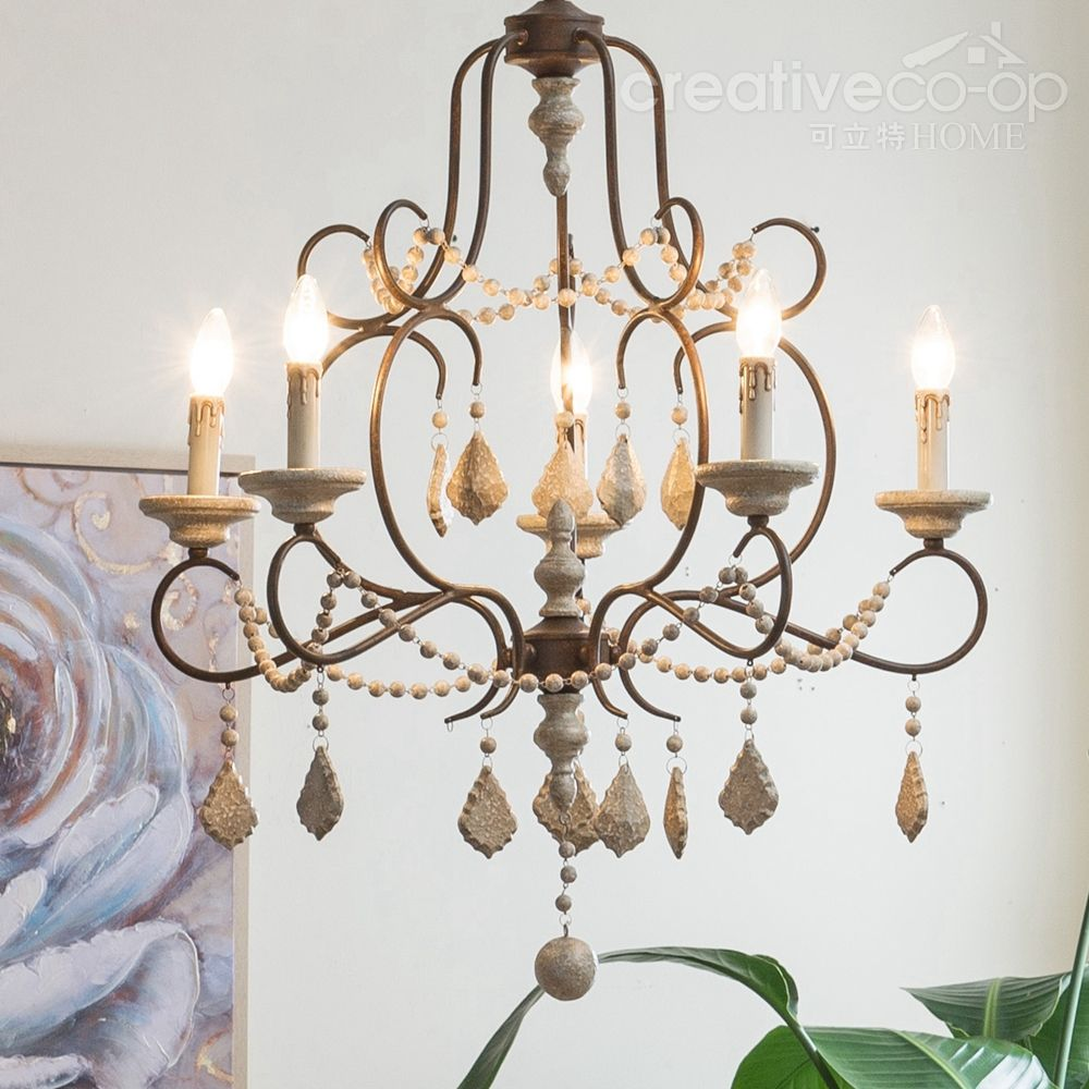 Iron & Wood Beads Chandelier ☆ Creative Co-Op Home | Lighting ...
