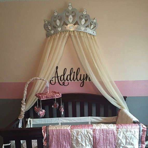 Bed Crown Canopy Crib Crown Nursery Design Wall Decor: Bed Canopy Crown Wall Decor In Silver With White By